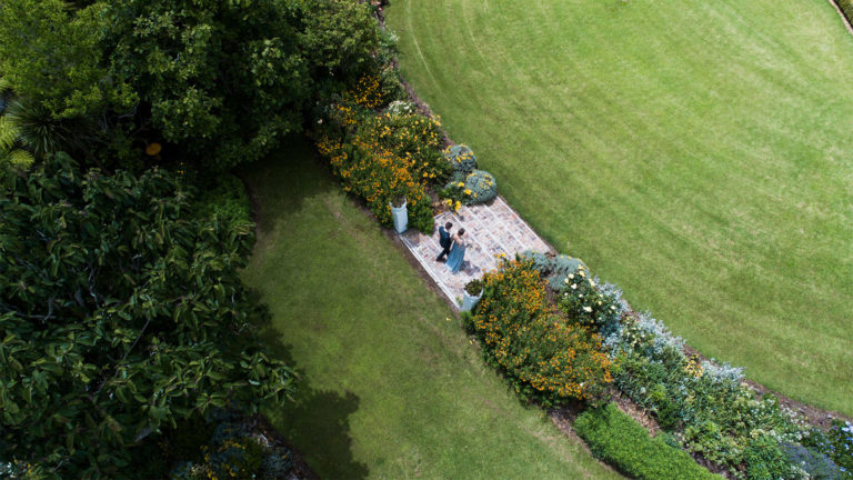 garden steps and flower borders for beautiful wedding photos