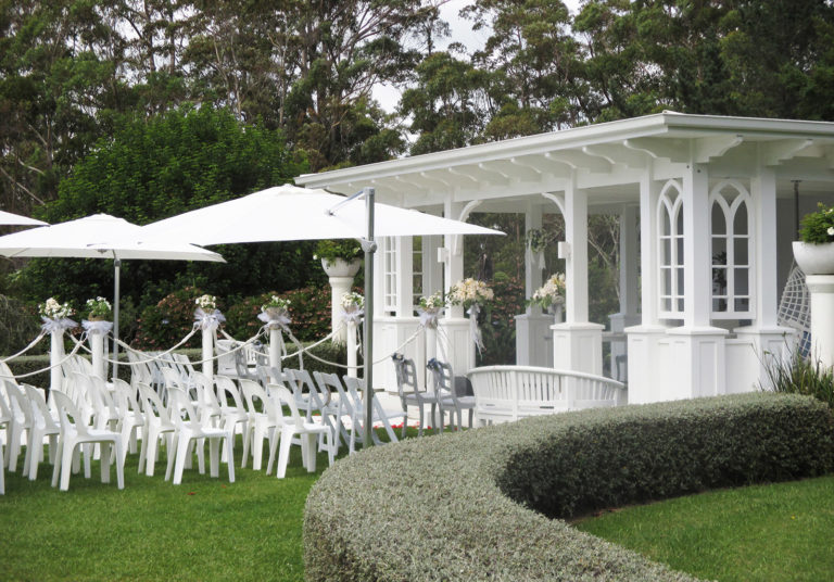 guest seating outside wedding pavilion kerikeri