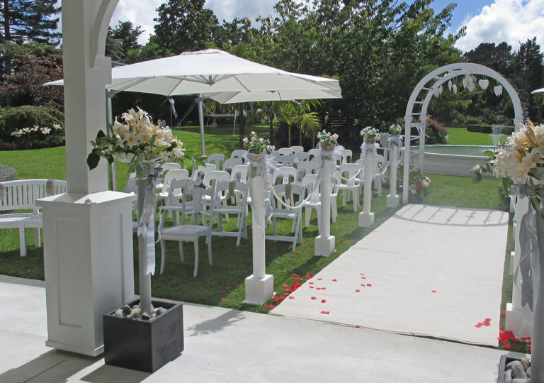 romantic covered pavilion, walkway and guest seating